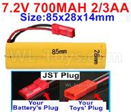 7.2V 700MAH NiCd Battery Pack-7.2 Volt 700MAH Ni-Cd Battery 2/3AA-With JST Plug-Size-85x28x14mm,7.2V NiCd RC Car Battery,7.2V NiCd Battery Pack for rc cars,7.2V NiCd RC Boat Battery