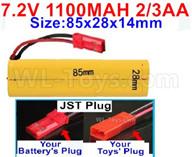 7.2V 1100MAH NiCd Battery Pack-7.2 Volt 1100MAH Ni-Cd Battery 2/3AA-With JST Plug-Size-85x28x14mm,7.2V NiCd RC Car Battery,7.2V NiCd Battery Pack for rc cars,7.2V NiCd RC Boat Battery