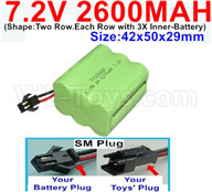 7.2V 2600MAH NiMH Battery Pack-7.2 Volt 2600MAH NI-MH Battery AA-With SM Plug-(Shape-Two Row.Each Row with 3X Inner-Battery)-Size-42x50x29mm,7.2V RC Car NiMH Battery,7.2V NiMH Battery Pack for rc cars,boat,tank,etc.