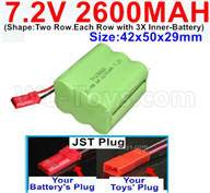 7.2V 2600MAH NiMH Battery Pack-7.2 Volt 2600MAH NI-MH Battery AA-With JST Plug-(Shape-Two Row.Each Row with 3X Inner-Battery)-Size-42x50x29mm,7.2V RC Car NiMH Battery,7.2V NiMH Battery Pack for rc cars,boat,tank,etc.