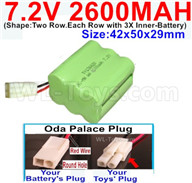7.2V 2600MAH NiMH Battery Pack-7.2 Volt 2600MAH NI-MH Battery AA-With Oda Palace Plug(Round hole-Red Wire)-(Shape-Two Row.Each Row with 3X Inner-Battery)-Size-42x50x29mm,7.2V RC Car NiMH Battery,7.2V NiMH Battery Pack for rc cars,boat,tank,etc.