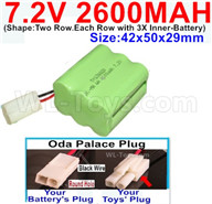 7.2V 2600MAH NiMH Battery Pack-7.2 Volt 2600MAH NI-MH Battery AA-With Oda Palace Plug(Round hole-Black Wire)-(Shape-Two Row.Each Row with 3X Inner-Battery)-Size-42x50x29mm,7.2V RC Car NiMH Battery,7.2V NiMH Battery Pack for rc cars,boat,tank,etc.