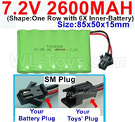 7.2V 2600MAH NiMH Battery Pack-7.2 Volt 2600MAH NI-MH Battery AA-With SM Plug-(Shape-One Row with 6X Inner-Battery)-Size-85x50x15mm,7.2V RC Car NiMH Battery,7.2V NiMH Battery Pack for rc cars,boat,tank,etc.
