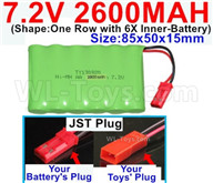7.2V 2600MAH NiMH Battery Pack-7.2 Volt 2600MAH NI-MH Battery AA-With JST Plug-(Shape-One Row with 6X Inner-Battery)-Size-85x50x15mm,7.2V RC Car NiMH Battery,7.2V NiMH Battery Pack for rc cars,boat,tank,etc.