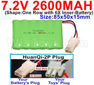 7.2V 2600MAH NiMH Battery Pack-7.2 Volt 2600MAH NI-MH Battery AA-With HuanQi-2P plug(1X Square hole+ 1X D-Shape Hole.The D-Shape Hole is Red Wire)-(Shape-One Row with 5X Inner-Battery)-Size-85x50x15mm,7.2V RC Car NiMH Battery,7.2V NiMH Battery Pack for rc cars,boat,tank,etc.