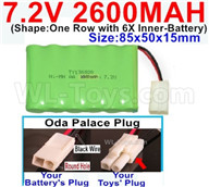 7.2V 2600MAH NiMH Battery Pack-7.2 Volt 2600MAH NI-MH Battery AA-With Oda Palace Plug(Round hole-Black Wire)-(Shape-One Row with 6X Inner-Battery)-Size-85x50x15mm ,7.2V RC Car NiMH Battery,7.2V NiMH Battery Pack for rc cars,boat,tank,etc.