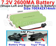 7.2V 2600MAH NiMH Battery Pack-7.2 Volt 2600MAH NI-MH Battery AA-With SM Plug(The D-Shape hole is Black wire)-(Shape-Left and Right Each 3x Battery)-Size-100X42X14mm,7.2V RC Car NiMH Battery,7.2V NiMH Battery Pack for rc cars,boat,tank,etc.
