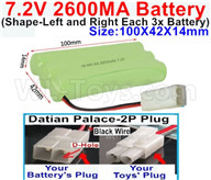 7.2V 2600MAH NiMH Battery Pack-7.2 Volt 2600MAH NI-MH Battery AA-With Datian Palace-2P Plug(The D-Shape hole is Black wire)-(Shape-Left and Right Each 3x Battery)-Size-100X42X14mm,7.2V RC Car NiMH Battery,7.2V NiMH Battery Pack for rc cars,boat,tank,etc.