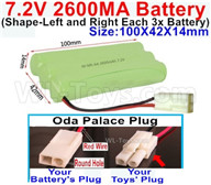 7.2V 2600MAH NiMH Battery Pack-7.2 Volt 2600MAH NI-MH Battery AA-With Oda Palace Plug(Round hole-Red Wire)-(Shape-Left and Right Each 3x Battery)-Size-100X42X14mm,7.2V RC Car NiMH Battery,7.2V NiMH Battery Pack for rc cars,boat,tank,etc.