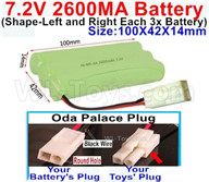7.2V 2600MAH NiMH Battery Pack-7.2 Volt 2600MAH NI-MH Battery AA-With Oda Palace Plug(Round hole-Black Wire)-(Shape-Left and Right Each 3x Battery)-Size-100X42X14mm,7.2V RC Car NiMH Battery,7.2V NiMH Battery Pack for rc cars,boat,tank,etc.