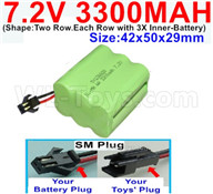 7.2V 3300MAH NiMH Battery Pack-7.2 Volt 3300MAH NI-MH Battery-With SM Plug-(Shape-Two Row.Each Row with 3X Inner-Battery)-Size-42x50x29mm,7.2V RC Car NiMH Battery,7.2V NiMH Battery Pack for rc cars,boat,tank,etc.