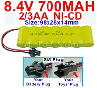 700mah 8.4V NiCd Battery Pack-2/3AA 8.4 Volt 700mah Ni-Cd Battery,With SM Plug-(Shape-One Row with 7X Battery)-Size-98x28x14mm
