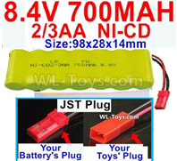 700mah 8.4V NiCd Battery Pack-2/3AA 8.4 Volt 700mah Ni-Cd Battery,With JST Plug-(Shape-One Row with 7X Battery)-Size-98x28x14mm