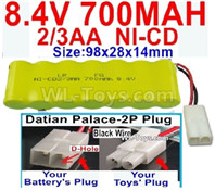 700mah 8.4V NiCd Battery Pack-2/3AA 8.4 Volt 700mah Ni-Cd Battery,With Datian Palace-2P Plug(The D-Shape hole is Black wire)-(Shape-One Row with 7X Battery)-Size-98x28x14mm