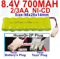 700mah 8.4V NiCd Battery Pack-2/3AA 8.4 Volt 700mah Ni-Cd Battery,With HuanQi-2P plug(1X Square hole+ 1X D-Shape Hole.The D-Shape Hole is Red Wire)-(Shape-One Row with 7X Battery)-Size-98x28x14mm