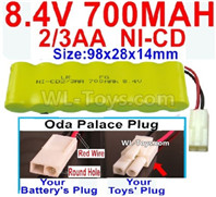 700mah 8.4V NiCd Battery Pack-2/3AA 8.4 Volt 700mah Ni-Cd Battery,With Oda Palace Plug(Round hole-Red Wire)-(Shape-One Row with 7X Battery)-Size-98x28x14mm