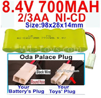 700mah 8.4V NiCd Battery Pack-2/3AA 8.4 Volt 700mah Ni-Cd Battery,With Oda Palace Plug(Round hole-Black Wire) Plug-(Shape-One Row with 7X Battery)-Size-98x28x14mm