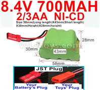 700mah 8.4V NiCd Battery Pack-2/3AA 8.4 Volt 700mah Ni-Cd Battery,With JST Plug-(Shape-Two Row,Upper Row with 3x Battery,Lower Row with 4x Battery)-Size-58mm(Long length)X43mm(Short length)X30mmX28mm
