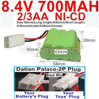 700mah 8.4V NiCd Battery Pack-2/3AA 8.4 Volt 700mah Ni-Cd Battery,With Datian Palace-2P Plug(The D-Shape hole is Black wire)-(Shape-Two Row,Upper Row with 3x Battery,Lower Row with 4x Battery)-Size-58mm(Long length)X43mm(Short length)X30mmX28mm
