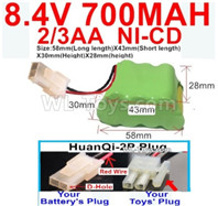 700mah 8.4V NiCd Battery Pack-2/3AA 8.4 Volt 700mah Ni-Cd Battery,With HuanQi-2P plug(1X Square hole+ 1X D-Shape Hole)-(Shape-Two Row,Upper Row with 3x Battery,Lower Row with 4x Battery)-Size-58mm(Long length)X43mm(Short length)X30mmX28mm