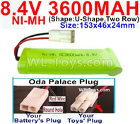 3600mah 8.4V NiMH Battery Pack-8.4 Volt 3600mah Ni-MH Battery-With Oda Palace Plug(Round hole-Red Wire)-(Shape-U-Shape,Two Row)-Size-153x46x24mm