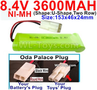 8.4V RC Battry Pack-3600mah 8.4 Volt NiMH Ni-MH Battery,8.4V RC Battry Pack-3600mah Battery Akku-With Oda Palace Plug(Round hole-Black Wire)-(Shape-U-Shape,Two Row)-Size-153x46x24mm,8.4V Rechargeable Battery Akku