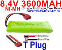 3600mah 8.4V NiMH Battery Pack-8.4 Volt 3600mah Ni-MH Battery-With T Plug-Horizontal-Red wire,Vertical-Black Wire-(Shape-U-Shape,Two Row)-Size-153x46x24mm