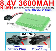 3600mah 8.4V NiMH Battery Pack-AA 8.4 Volt 3600mah Ni-MH Battery,With SM Plug-(Shape-One Row with 7x battery)-Size-102x50x14mm