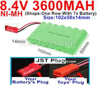 3600mah 8.4V NiMH Battery Pack-AA 8.4 Volt 3600mah Ni-MH Battery,With JST Plug-(Shape-One Row with 7x battery)-Size-102x50x14mm