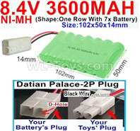 3600mah 8.4V NiMH Battery Pack-AA 8.4 Volt 3600mah Ni-MH Battery,With Datian Palace-2P Plug(The D-Shape hole is Black wire)-(Shape-One Row with 7x battery)-Size-102x50x14mm