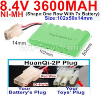3600mah 8.4V NiMH Battery Pack-AA 8.4 Volt 3600mah Ni-MH Battery,With HuanQi-2P plug(1X Square hole+ 1X D-Shape Hole.The D-Shape Hole is Red Wire)-(Shape-One Row with 7x battery)-Size-102x50x14mm