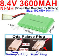 3600mah 8.4V NiMH Battery Pack-AA 8.4 Volt 3600mah Ni-MH Battery,With Oda Palace Plug(Round hole-Red Wire)-(Shape-One Row with 7x battery)-Size-102x50x14mm