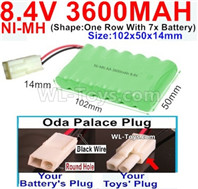 3600mah 8.4V NiMH Battery Pack-AA 8.4 Volt 3600mah Ni-MH Battery,With Oda Palace Plug(Round hole-Black Wire)-(Shape-One Row with 7x battery)-Size-102x50x14mm
