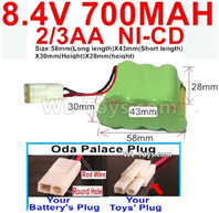700mah 8.4V NiCd Battery Pack-2/3AA 8.4 Volt 700mah Ni-Cd Battery,With Oda Palace Plug(Round hole-Red Wire)-(Shape-Two Row,Upper Row with 3x Battery,Lower Row with 4x Battery)-Size-58mm(Long length)X43mm(Short length)X30mmX28mm