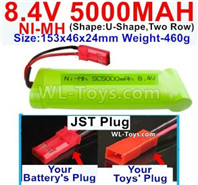 5000mah 8.4V NiMH Battery Pack-8.4 Volt 5000mah Ni-MH Battery,With JST Plug-(Shape-U-Shape,Two Row)-Size-153x46x24mm