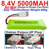 5000mah 8.4V NiMH Battery Pack-8.4 Volt 5000mah Ni-MH Battery,With Datian Palace-2P Plug(The D-Shape hole is Black wire)-(Shape-U-Shape,Two Row)-Size-153x46x24mm
