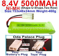 5000mah 8.4V NiMH Battery Pack-8.4 Volt 5000mah Ni-MH Battery,With Oda Palace Plug(Round hole-Red Wire)-(Shape-U-Shape,Two Row)-Size-153x46x24mm