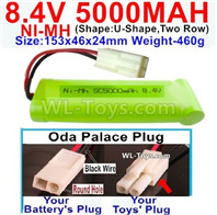 8.4V RC Battry Pack-5000mah 8.4 Volt 5000mah NiMH Ni-MH Battery Akku,With Oda Palace Plug(Round hole-Black Wire)-(Shape-U-Shape,Two Row)-Size-153x46x24mm,8.4V Rechargeable Battery Akku