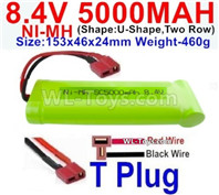 5000mah 8.4V NiMH Battery Pack-8.4 Volt 5000mah Ni-MH Battery,With T Plug-Horizontal-Red wire,Vertical-Black Wire-(Shape-U-Shape,Two Row)-Size-153x46x24mm