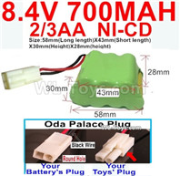 700mah 8.4V NiCd Battery Pack-2/3AA 8.4 Volt 700mah Ni-Cd Battery,With Oda Palace Plug(Round hole-Black Wire)-(Shape-Two Row,Upper Row with 3x Battery,Lower Row with 4x Battery)-Size-58mm(Long length)X43mm(Short length)X30mmX28mm