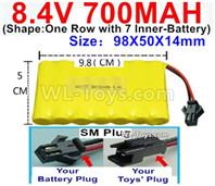 700mah 8.4V NiMH Battery Pack-8.4 Volt 700mah Ni-MH Battery AA,With SM Plug-(Shape-One Row with 7 Inner-Battery)-Size-98X50X14mm