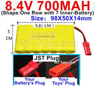 700mah 8.4V NiMH Battery Pack-8.4 Volt 700mah Ni-MH Battery AA,With JST Plug-(Shape-One Row with 7 Inner-Battery)-Size-98X50X14mm
