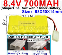 700mah 8.4V NiMH Battery Pack-8.4 Volt 700mah Ni-MH Battery AA,With Datian Palace-2P Plug(The D-Shape hole is Black wire)-(Shape-One Row with 7 Inner-Battery)-Size-98X50X14mm