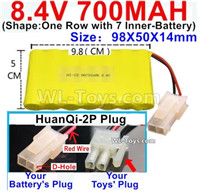 700mah 8.4V NiMH Battery Pack-8.4 Volt 700mah Ni-MH Battery AA,With HuanQi-2P plug(1X Square hole+ 1X D-Shape Hole.The D-Shape Hole is Red Wire)-(Shape-One Row with 7 Inner-Battery)-Size-98X50X14mm