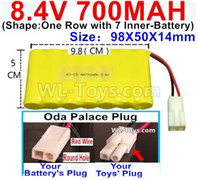 700mah 8.4V NiMH Battery Pack-8.4 Volt 700mah Ni-MH Battery AA,With Oda Palace Plug(Round hole-Red Wire)-(Shape-One Row with 7 Inner-Battery)-Size-98X50X14mm