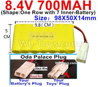 700mah 8.4V NiMH Battery Pack-8.4 Volt 700mah Ni-MH Battery AA,With Oda Palace Plug(Round hole-Black Wire)-(Shape-One Row with 7 Inner-Battery)-Size-98X50X14mm
