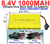 1000mah 8.4V NiCd Battery Pack-AA 8.4 Volt 1000mah Ni-Cd Battery Akku,-With SM Plug-(Shape-One Row with 7x battery)-Size-100x48x14mm