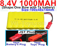 1000mah 8.4V NiCd Battery Pack-AA 8.4 Volt 1000mah Ni-Cd Battery Akku,-With JST Plug-(Shape-One Row with 7x battery)-Size-100x48x14mm