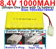 1000mah 8.4V NiCd Battery Pack-AA 8.4 Volt 1000mah Ni-Cd Battery Akku,-With Datian Palace-2P Plug(The D-Shape hole is Black wire)-(Shape-One Row with 7x battery)-Size-100x48x14mm