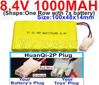 1000mah 8.4V NiCd Battery Pack-AA 8.4 Volt 1000mah Ni-Cd Battery Akku,-With HuanQi-2P plug(1X Square hole+ 1X D-Shape Hole.The D-Shape Hole is Red Wire)-(Shape-One Row with 7x battery)-Size-100x48x14mm